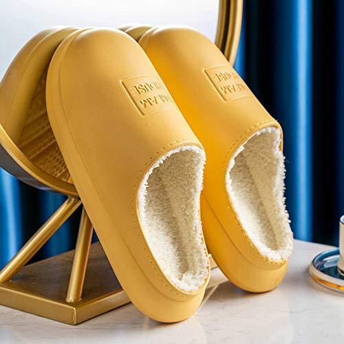Zapatillas Calientes Antideslizantes Zapatillas Impermeables Zapatillas peludas de Moda Ladies-Yellow_35-36