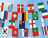 FRIP- WM 2018 Fahnenkette ca. 16,8m lang alle 32 Teilnehmerländer je 30x45cm vernäht an einem Flaggenseil