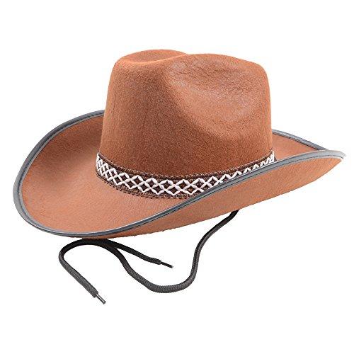 Cowboy Hat Rodeo Wild West Unisex Fancy Dress Accessory Brown