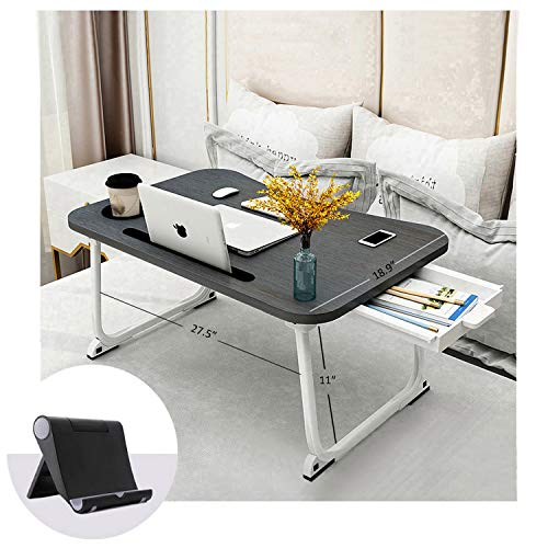 """Bed Tray Lap Desk, XXL Portable Laptop Table with Cup Holder, Foldable Laptop Stand with Storage Drawer and Phone Stand, Ergonomic Standing Laptop Tray in Bed/Couch/Sofa/Office(27.5""""x18.9""""x11"""")"""