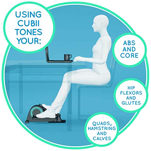Cubii Jr. - Seated Under-Desk Elliptical Trainer - Get Fit While You Sit - Built-in Display Monitor - Whisper-Quiet - Adjustable Resistance - Easy to Assemble