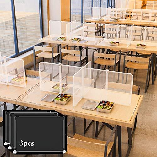 Desk Partitions Desktop Sneeze Guard, Plastic Classroom Desk Dividers,Transparent Protection partition, Prevent Droplets and Sneeze, Suitable for Classrooms, Restaurants etc. (3Pcs/Pack, 30x45cm)
