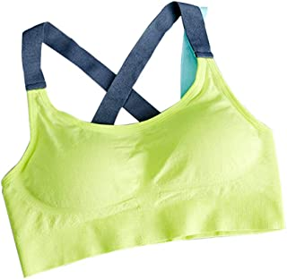 CYWYX Women's Sports Bras Seamless Low Impact Wire-Free with Removable Cups Padded Seamless Support for Yoga Fitness