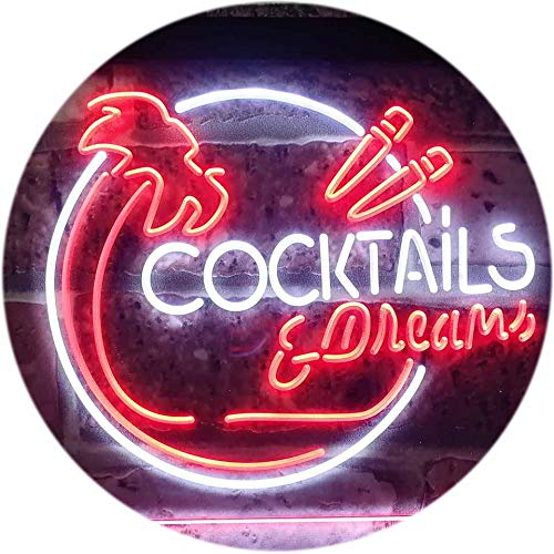 ADV PRO Cocktails & Dreams Bar Pub Club Dual Color LED Enseigne Lumineuse Neon Sign Blanc et Rouge 400 x 300mm st6s43-i3163-wr