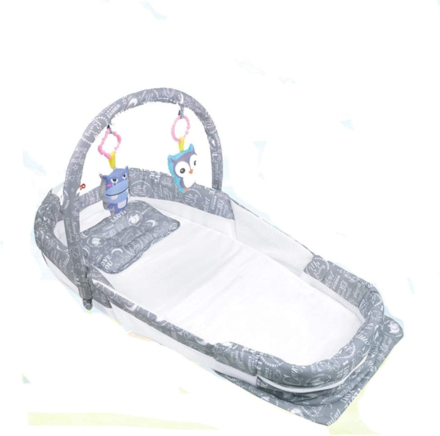 Baby Sleeps Well Good Foldable Co-Sleeping Baby Seperated Bed With Pillow Mattress Sheet Hanging Toys Nest Bassinet For Bed Portable Cotton Crib For Bedroom Travel Seperated Bed With Music Night Light