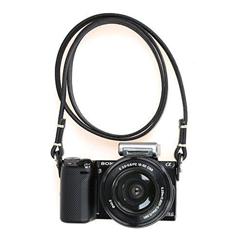 CANPIS Genuine Slim Leather Camera Neck Shoulder Strap for Fuji Sony Olympus Lecia, Vintage Leather Camera Strap (Black Color)