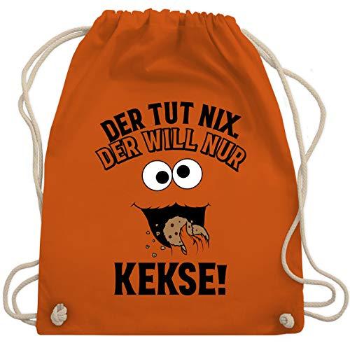 Shirtracer Karneval & Fasching - Der tut nix, der will nur Kekse! - schwarz - Unisize - Orange - Keks - WM110 - Turnbeutel und Stoffbeutel aus Baumwolle