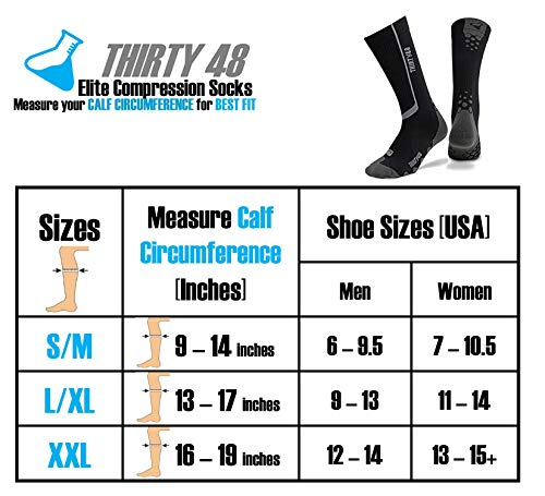Thirty48 Elite Compression Socks, Graduated 20-30mmHg Compression for Performance and Recovery (S/M (US Women 7-10.5 / US Men 6-9.5), [2 Pairs] Black/Grey & Blue/Grey)