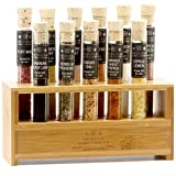 The Spice Lab Gourmet Salt Sampler Collection No. 1 – Grilling Gifts for Men & Women - 11 Pyrex Tubes - All Natural Kosher Salts Gift Set - Salt Samples from Around the World - Premium Cooking Gift