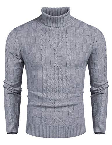 COOFANDY Herren Rollkragen Pullover Basic Langarmshirt Feinstrick Sweater Rollkragen Freizeit Slim fit Männer Pullover Grau M