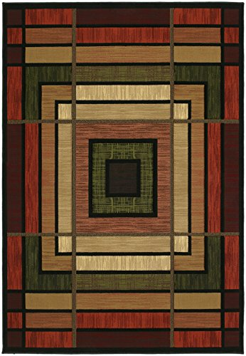 United Weavers of America Contours Ambience Terracotta Rug - 5ft. 3in. x 7ft. 6in., Olive, Polypropylene Rug with Jute Backing, Thick Pile. Synthetic Rugs