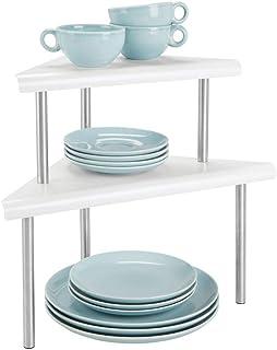 mDesign Estantería esquinera con 2 niveles – Baldas de cocina para rincones de encimeras e interiores de armarios – Estant...
