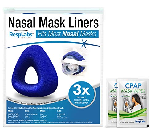 RespLabs Nasal CPAP Mask Liners — [3 Pack] Reusable, Universal, and Super Comfortable