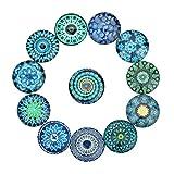 Exceart Juego de 20 azulejos de mosaico redondos de cristal con piedras preciosas, para manualidades, mosaico, 25 mm