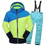 LSEHL Traje de esquí para niños + Chaqueta de esquí para niñas y niños, Otoño-Invierno, Niños, Color Grünes Top + Himmelblaue Hose, tamaño 146 cm/152 cm