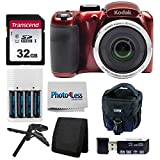 Kodak PIXPRO AZ252 Astro Zoom 16MP Digital Camera (Red) + Point & Shoot Camera Case + Transcend 32GB SD Memory Card + Rechargeable Batteries & Charger + USB Card Reader + Table Tripod + Accessories