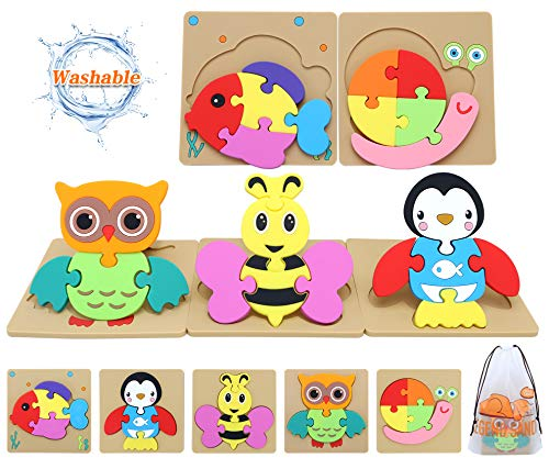 Toddler Toys for 1 2 3 Year Old Girls Boys,Toddler Puzzles Toy for 1 Year Old Girl Birthday Gift,Washable Non-Wooden Puzzles Kids Toys,Animal Shape Baby Gifts Learning Educational Toys