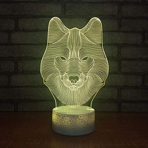 3D Night Light 3D 7 Changement de couleur Usb Résumé Wolf Head Night Light Led Chambre Décoration de la maison Creative Bright Table Lamp Gift
