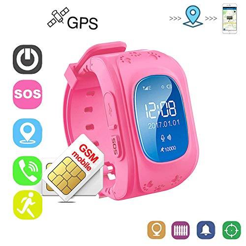 Winnes Reloj Niña Rosa Reloj Niño GPS Localizador Pulsera de Actividad Inteligente GPS GPS Tracker Material Respetuoso con El Medio Ambiente con Menor Radiación(Rosa)