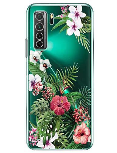 16Jessie compatible con Huawei P40 Lite 5G, transparente, carcasa de silicona, ultrafina, TPU con flores, patrón de mármol, funda para Huawei P40 Lite 5G