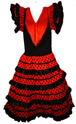 Robe flamenco sevillane pour fille, Rouge, 8