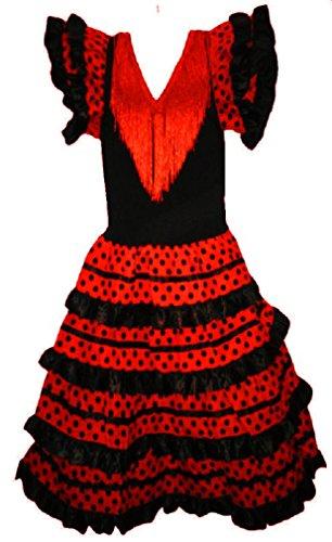 Vestido de flamenco, sevillanas, para niña rojo 4