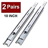 VALISY 2 Pair of 10 Inch Full Extension Side Mount Ball Bearing Sliding Drawer Slides, Available in 10', 12', 14', 16', 18' and 20' Lengths