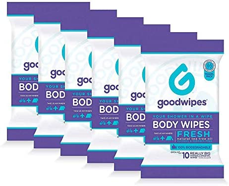 Goodwipes Really Big Body Wipes Fresh Scent Travel Packaging with Tea Tree Oil Peppermint and product image