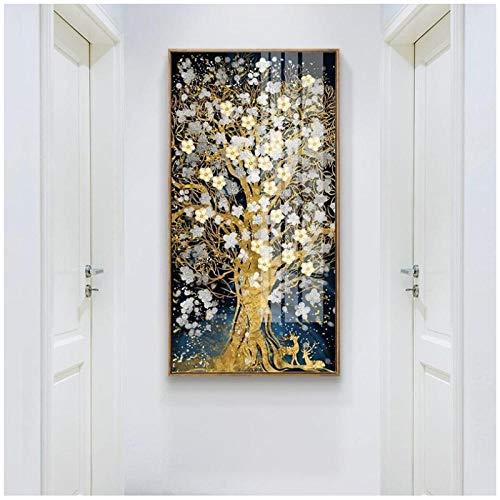 Mulmf Abstract Gouden Boom Bloemen Canvas Schilderij Vloeiende Grote Schilderij Herten Schilderij voor Woonkamer Muur Art Decor Schilderijen - 50X100Cm/Unframed