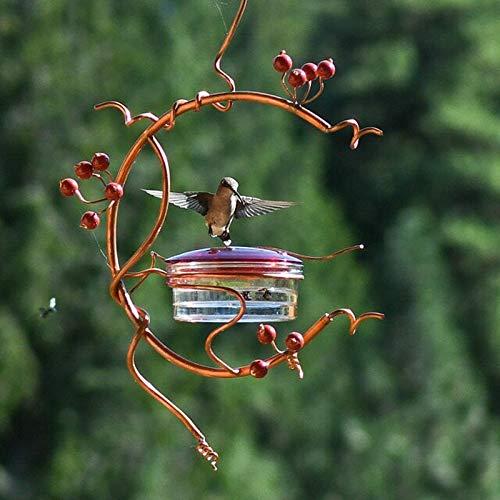 QWV Bird Feeder for Hummingbird, Hanging Wild Bird Seed Feeder Seed Tray Decorative Metal Copper Bird Feeders with Red Berries Deacor for Garden Outdoor Gardening Gift
