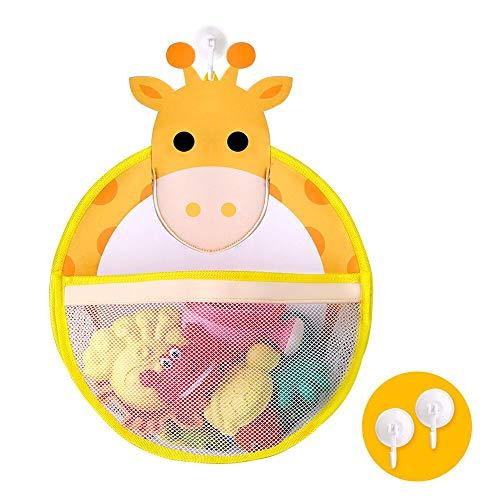 BeebeeRun Badespielzeuge Aufbewahrungstasche, Badewanne Spielzeug Organizer Nettes Tiermuster mit 2 Starken Saugnäpfen, Kleinkinder Spielzeug Organizer Lagerung Netztasche für Baby Jungen Mädchen