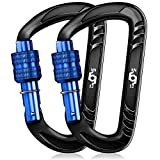 Rhino Produxs 2PCS of 12kN Heavy Duty Lightweight Locking Carabiner Clips; 8 Colors; Ideal for...