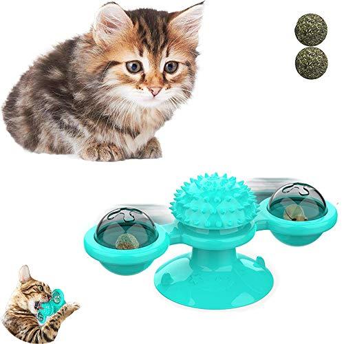 Dream HorseX Juguete Placa Giratoria para Gato, Giratorio Interactivo para Gatos, Juguete de Gato Molino de Viento, para Cosquillas y Limpieza de Dientes- Azul