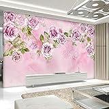 Cczxfcc Wall Decoration Copic Personalizzato Foto Wallpaper Fiore 3D Rosa Tv Sfondo Della Parete Della CasaLiving Pittura Wallpaper Camera-300Cmx210Cm