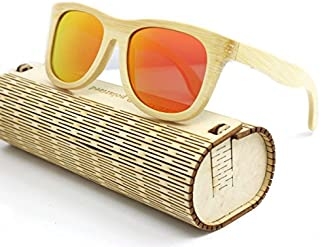TT WARE Unisex Handmade Bamboo Legs Polarized Sunglasses Outdoor UV Protaction Colorful Lens Eyewear Glasses-Red