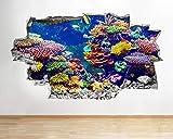 HUJL Pegatinas de pared Pegatinas de pared acuario peces océano mar coral calcomanía cartel 3D arte vinilo habitación
