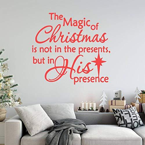 Jsnzff Magia Navidad Autoadhesivo Vinilo Pared Pegatina Vinilo removible Mural Papel Tapiz Arte Pared calcomanía 57x62cm