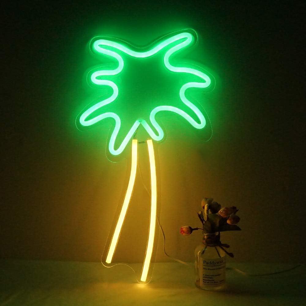 Large Neon Sign Led Neon Light Usb Powered Night Light As Wall Decor For Kids Room Living Room Office Room Bar Restaurant Christmas Festival Party Coconut Tree Amazon Com