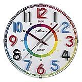 Atlanta Reloj de pared para niños sin tictac, números coloridos, 4480/0