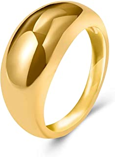 FLOGWE 14 كيلو مطلية بالذهب سميكة مقبب خواتم بيان الراحة خواتم الإصبع المشتركة هدية للنساء الفتيات المراهقات
