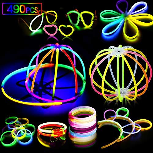 AMZJUPWM Barras Luminosas, 490pzas (20 cm) múltiples Colores: Amarillo, Rojo, Blanco, Ideal para Eventos: Fiestas Infantiles, cumpleaños. (490PCS)