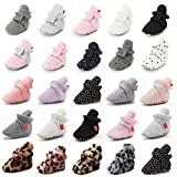 Meckior Infant Baby Boys Girls Cotton Booties Winter Fleece Warm Cozy Socks Soft Bottom Newborn Toddle First Walkers Crib Shoes with Grippers