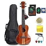 Smiger Concert Ukulele ALL Solid Acacia ukelele Hawaiian Ukuleles for beginners professional with uke strap Capo Strings Set Gig Bag