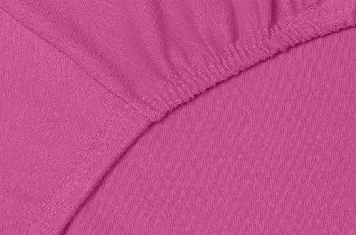 Double Jersey – Spannbettlaken 100% Baumwolle Jersey-Stretch bettlaken, Ultra Weich und Bügelfrei mit bis zu 30cm Stehghöhe, 160x200x30 Lila - 5