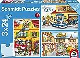 Schmidt Spiele Puzzle 56215, hellblau, Feuerwehr und Polizei, 3x24 Teile