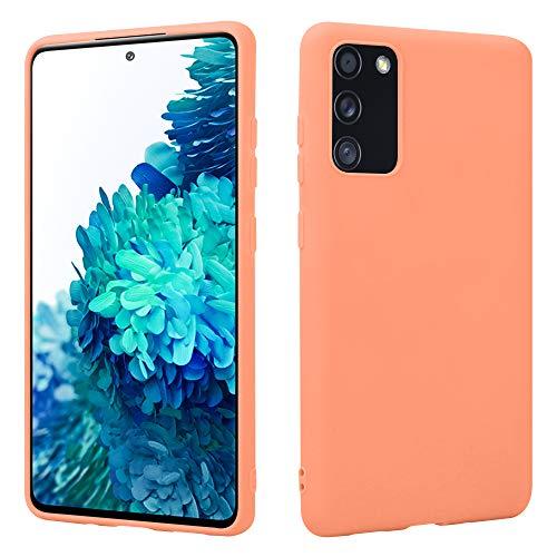 HSP Orange Hülle kompatibel mit Samsung Galaxy S20 FE   Premium TPU Silikon Hülle   Geeignet für Induktives Laden   Kratzfest Stoßfest   Matte Oberfläche   Passexakte, weiche, dünne Schutzhülle