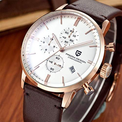 CHNYDSB Modieus polshorloge chronograaf heren met zwarte wijzerplaat armband van echt leer Elegant Business Style Casual