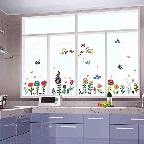 Cooldeer Gemalte Blumen Und Vögel, Die Dekorative Wandaufkleber Der Schrankkühlschrankwandschrankschlafzimmer Fernsehhintergrundwand Umsäumen