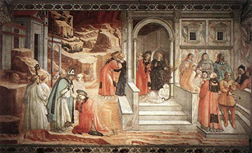 """Fra Filippo Lippi Disputation in The Synagogue 1465 Private Collection 30"""" x 18"""" Fine Art Giclee Canvas Print (Unframed) Reproduction"""
