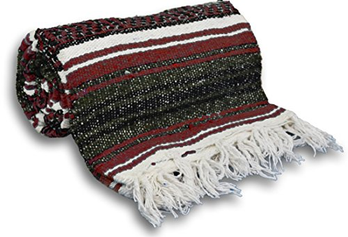 YogaAccessories Traditional Mexican Yoga Blanket ( Burgundy)